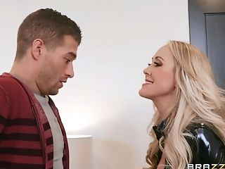 Leather Infatuation Cougar Brandi Love Rear End Style Pounded Hard-core