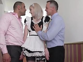 French Maid Carly Rae Has Her Mouth Banged