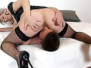 Matures Honey In Fishnets Rails His Face