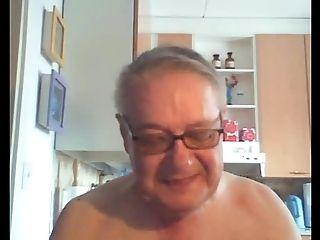 Grandfather Flash On Web Cam