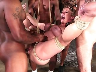Dee Williams Gets Fucked Hard During Massive Interracial Gang-fuck