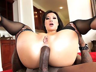 Asian Perfection Asa Akira Drives A Big Black Cock Deep Into Her Mouth And Asshole