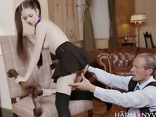 Bashful Teenager In Tee-shirt Kilt Microskirt Rebecca Volpetti Gets Fucked In The Library