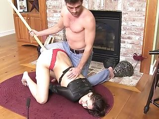 Decadent Black-haired Teenage Tied Up In Leather Jacket And Pounded Hard