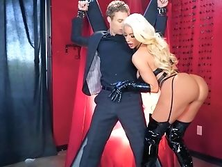 Spandex Mistress Bangs Her Well-dangled Gimp Hard