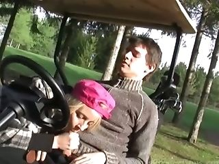 Horn-mad Golf Player Candy Smooch Is Anxious To Suck Delicious Manstick Outdoors