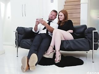 Ginger-haired Pallid Vixen Ella Hughes Gulps A Explosion At The Office