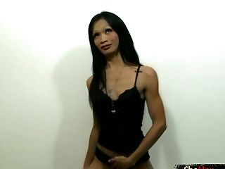 Asian Tranny Uses Her Hot Lips And Tongue To Suck His Dick