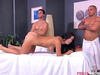Rough Rubdown And A Gang-fuck For An Oiled Up Black-haired Roxy Lane