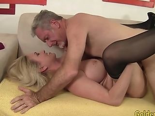 Stunning Big Tits Granny Cala Hungers Shows An Old Man Her Abilities