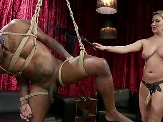 Dom Blonde Cougar Ryan Keely Pegs A Black Dude With A Strap On