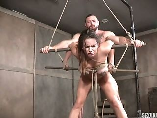 Tied Up Hooker Scarlet De Sade Gets Her Muff And Mouth Banged In The Torment Room