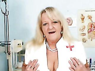 Grandmother In Uniform Spreads Blonde Shaggy Piss Crevasse