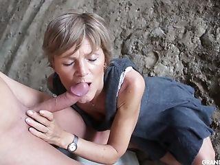 Nymphomaniac Granny Bj's A Big Spunk-pump Of Tied Up Naked Boy