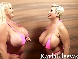 Brazilian Lezzies - Supah Big-boobed Matures Moms In Swimsuit Have Fun With Their Monster Tits