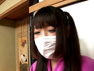 Super-cute Japanese Chick With A Mouth-mask And The Gonzo Snatch Drilling
