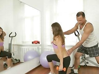 Russian Sport Instructor Fucks Diminutive-tittied Teenage On The Floor