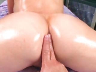 Blondes Massive Tits Are Covered With Oil When She Gets Naked
