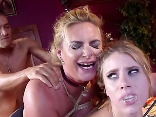 Utter-boobed Mommy And Teenage Pounded Together Bondage & Discipline