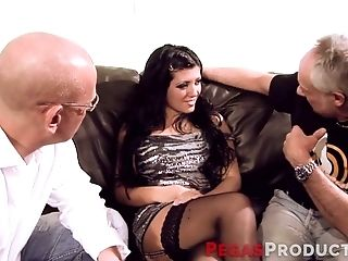 Faux Tittied Hoochie Serves Two Elder Dudes At The Highest Level