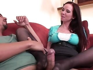 Jessica Cheating Gives Footjob To Hubby Friend