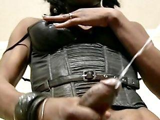 Black Tgirl In Black Underwear Wraps Mouth Around Milky Dick