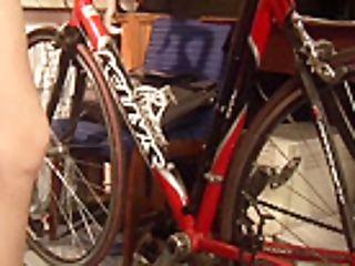 Cyntia Exercises On Bicycle And Masturbates