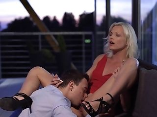 Classy Cougar In Crimson Sundress Has A Stud Gobble And Fuck Her Ripe Cunt