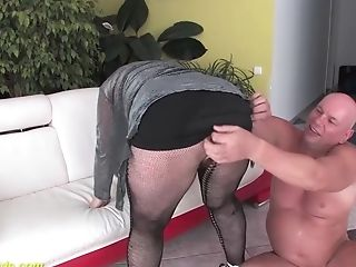 Chubby Hairy Grand-ma First-ever Time Big Schlong Fucked