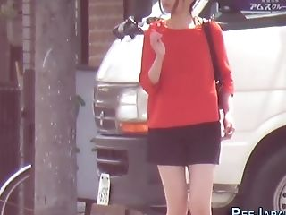 Japanese Mega-bitch Urinating In Public Street