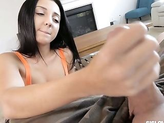 Crazy Raven Haired Gal Selena Stone Flashes Tits And Gives A Good Tugjob