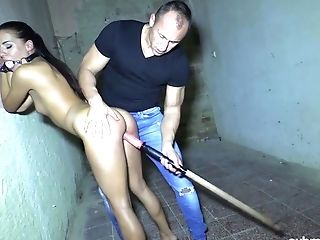 Pervy Pervert Fucks Tied Up Chick With Ball Gag Eveline Delay In The Basement