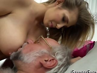 Hot Grandpa Hard Fucking By Sexy Young Brunette Girl Twat