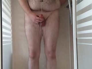 Hairy Youthfull Cub Showering And Covering Himself In Piss
