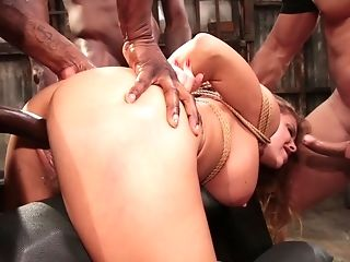 Tied Up Blonde Britney Amber Gets Group-fucked Gonzo