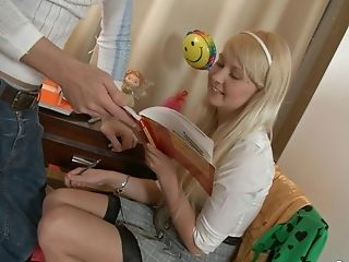 Blonde Mila Studying Then Having Her Trimmed Vulva Banged Hard-core