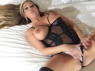 Buxom Cock-squeezing Tramp Fondles Her Big Tits And Strokes Smooth-shaven Muff