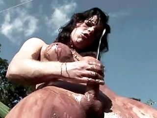 Naked T-lady Swinging In The Park Gets Covered In Chocolate