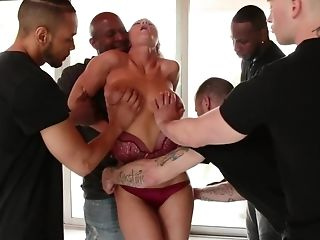 Bandits Group Sex Pretty Blonde With Big Globes In All Fuck Holes