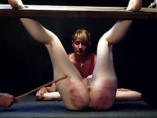 Ruthless Caning For Blonde And Her Gf