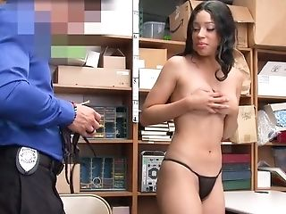 Lengthy Haired Fledgling Dark-haired Stripteases For Cop And Shows Off Her Tits