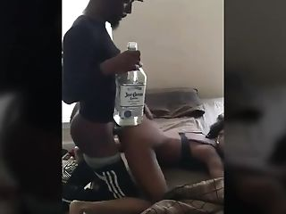 Providing Her Rear End With A Bottle