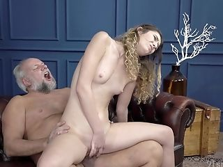 Old Man Gets Seduced By Teenage Candice Demelzza And Cums On Her Face