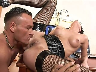 Assistant In Fishnets Aj Fucks Her Customer And Gulps His Jizz