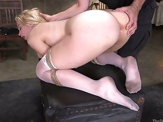 Tied Up Bombshell Chloe Cherry Is Disciplined By Two Pervy Dudes In The Dark Basement