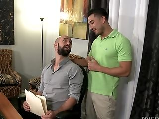 Bald Fag Dude Seduced By His Coworker To Fuck At Work And Get Spunk