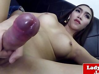 Taunting Thai She-male Wanking Off
