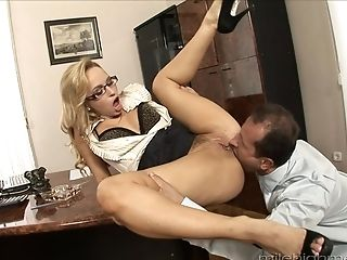 Horny Assistant Hankers For A Big Blast Of Stiff Monster Woo