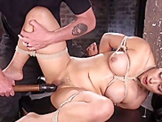 Huge-titted Dark Haired Bottom Vibed In Suspension