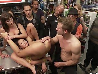 Asian Deep-throating And Fucks Big Masculine Stick In Public